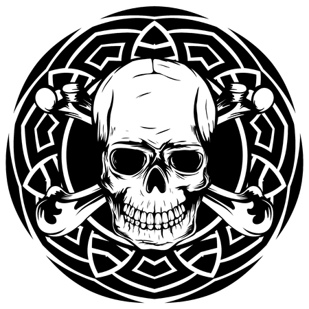 Abstract vector illustration of black and white human skull with crossed bones on round ornament. Design for tattoo or print t shirt.