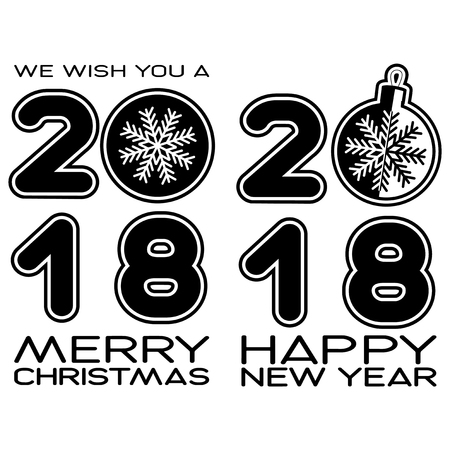 Vector illustration of black and white inscription, Happy New Year and Merry Christmas with xmas toys on white background for design greeting card, poster or flyer.  イラスト・ベクター素材