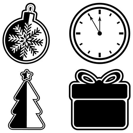 Vector illustratie zwart-wit Kerstmis pictogram. Kerstmisstuk speelgoed met sneeuwvlok en klok, giftdoos en Kerstmisbomen op witte achtergrond voor de kaart van de ontwerpgroet, affiche of vlieger. Vector Illustratie