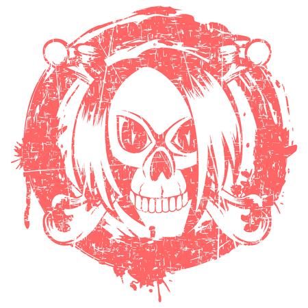Vector illustration emo skull with hair and crossed bones on grunge background. For t-shirt design.