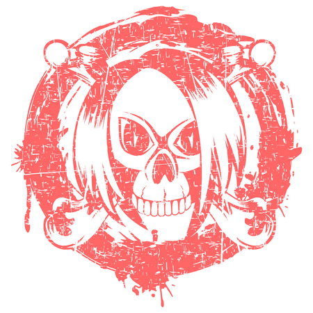 Vector illustration emo skull with hair and crossed bones on grunge background. For t-shirt design.