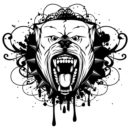 Vector illustration of aggressive snarling dog breed pit bull with an open mouth on grunge background. Head pitbull with collar with spikes.
