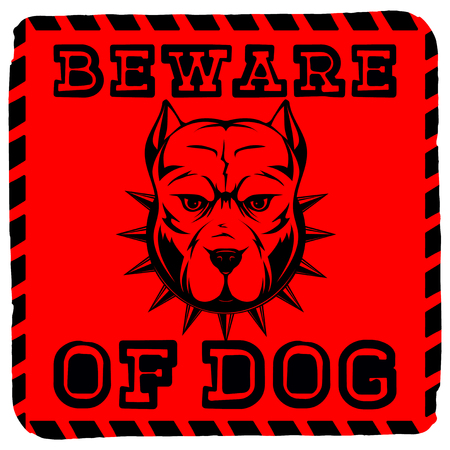 Abstract vector illustration red sign with head dog breed pit bull with collar with spikes. Inscription beware of dog. Illustration