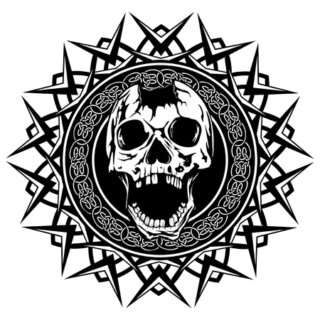 Abstract vector illustration black and white broken human skull with open jaw on round ornament with celtic knots. Design for tattoo or print t shirt.