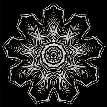 Vector illustration silver glitter snowflake icon on black background for design greeting card, christmas poster. Illustration