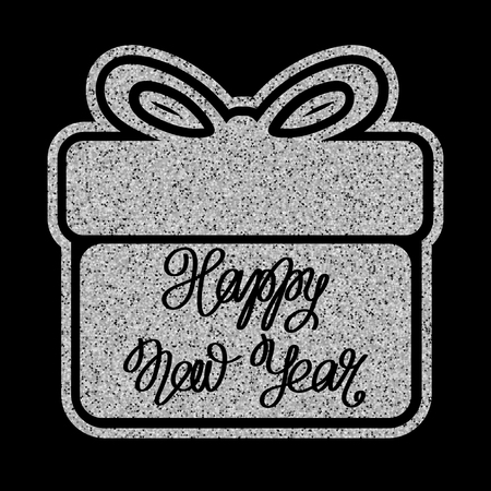 Vector illustration silver glitter gift box icon with inscription happy new year on black background for design greeting card, christmas poster.
