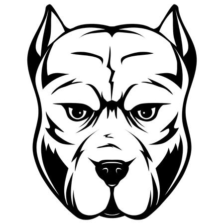 犬の品種ピットブルの頭  イラスト・ベクター素材