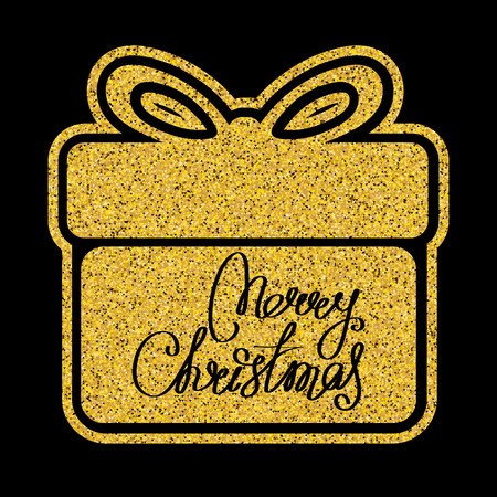 Golden glitter gift box icon