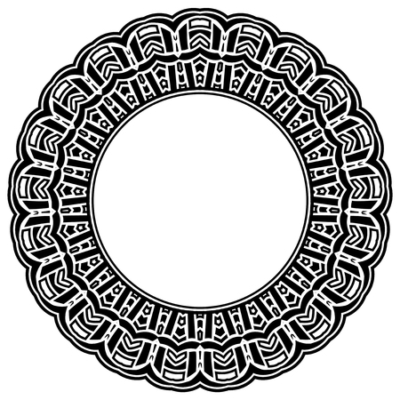 Abstract vector black and white illustration round beautiful tracery frame. Decorative vintage ethnic mandala pattern. Design element for tattoo