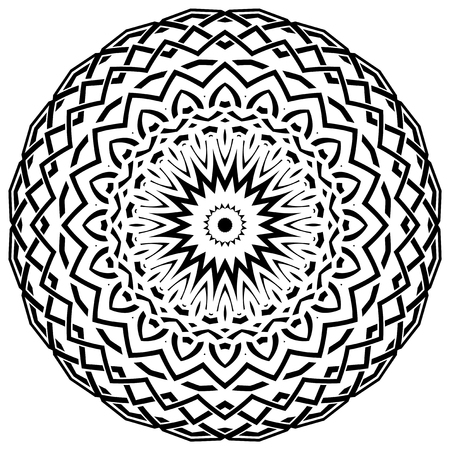 Abstract vector black and white illustration round beautiful ornament. Decorative vintage ethnic mandala pattern. Design element for tattoo Illustration