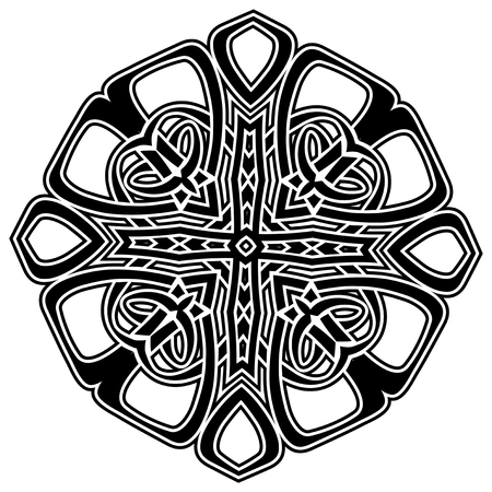 Abstract vector black and white illustration beautiful tracery frame. Decorative vintage tribal cross with patterns. Design element for tattoo Illustration