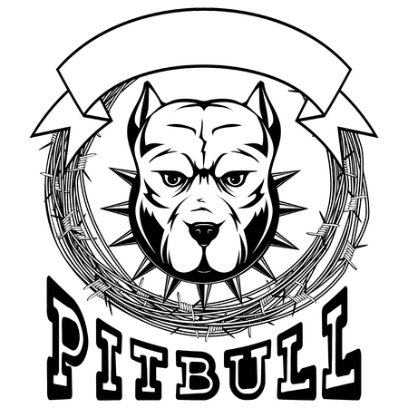 Abstract vector black and white illustration portrait of fighting dogs. Head of dog breed pit bull in collar with spikes on frame of barbed wire. Inscription pitbull.