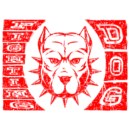 Abstract vector illustration red dog. Head of dog breed pit bull in collar with spikes. Inscription fighting dog.
