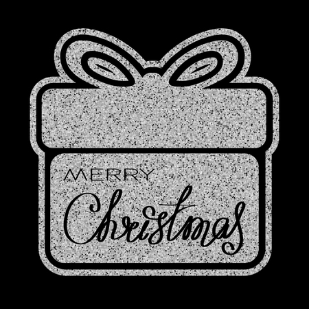 Vector illustration silver glitter gift box icon with inscription merry christmas on black background for design greeting card, christmas poster or flyer.