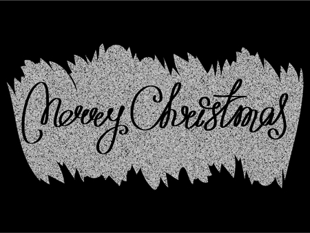 Inscription marry christmas on silver glitter texture paint stain on black background. Design for greeting card, poster, banner and flyers.