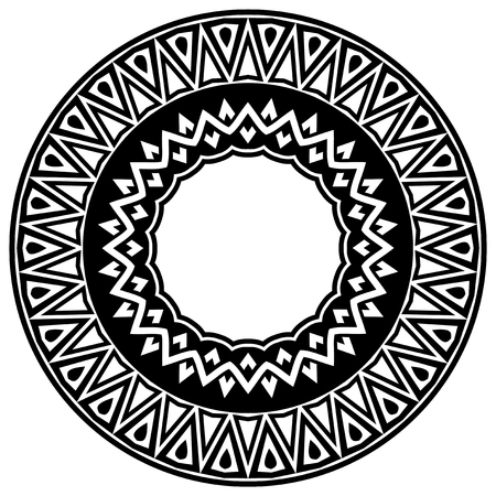 Abstract vector black and white illustration round beautiful tracery frame. Decorative vintage ethnic mandala pattern. Design element for tattoo or logo.