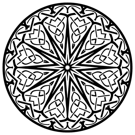 Abstract vector black and white illustration round beautiful ornament. Decorative vintage ethnic mandala pattern. Design element for tattoo or logo. Vettoriali