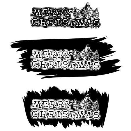 Inscription merry christmas on black paint stain. Design for greeting card, poster, banner and flyers.