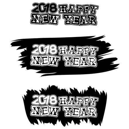 Inscription happy new year and 2018 on black paint stain. Design for greeting card, poster, banner and flyers.