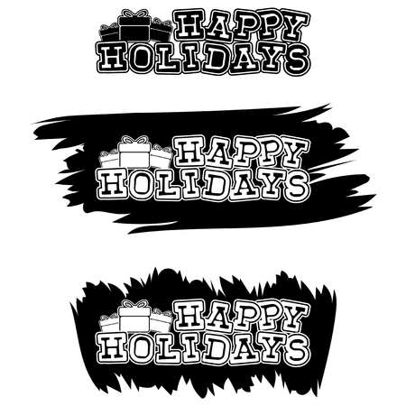Inscription happy holidays on black paint stain. Design for greeting card, poster, banner and flyers.