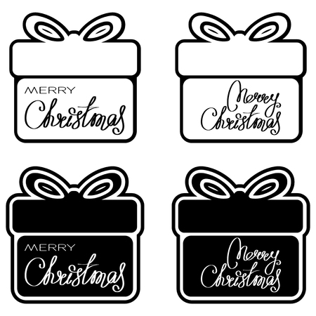 Gift box and inscription merry christmas. Design for greeting card, poster, banner and flyers.