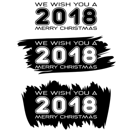 Inscription we wish you a merry christmas on black paint stain. Design for greeting card, poster, banner and flyers. Stock Illustratie