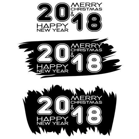 Inscription merry christmas and happy new year and 2018 on black paint stain. Design for greeting card, poster, banner and flyers. Stock Illustratie