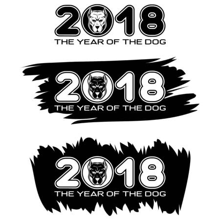 Inscription the year of the dog and 2018 with dog head on black paint stain. Design for greeting card, poster, banner and flyers.