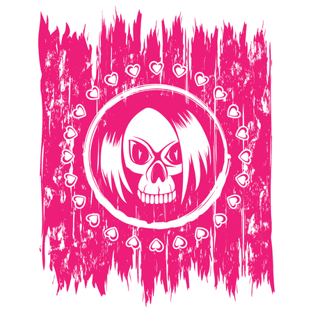 Vector illustration emo skull with hair and hearts on scratched grunge background. For t-shirt design.