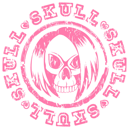 Vector illustration scratched pink stamp emo skull with hair and hearts. Inscription skull. For t-shirt design.