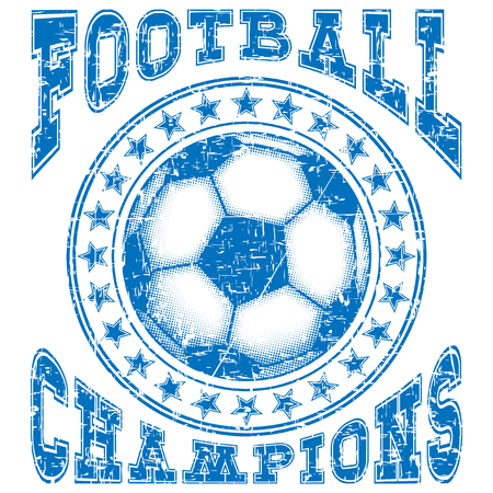 Abstract vector illustration blue shabby stamp football ball with stars on grunge background. Inscription football champions. Design for print on fabric or t-shirt. Stock Illustratie