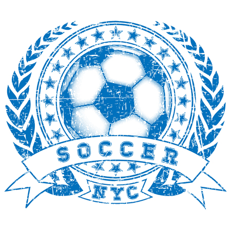 Abstract vector illustration blue shabby stamp football ball with stars on white background. Inscription soccer. Design for print on fabric or t-shirt. 矢量图像