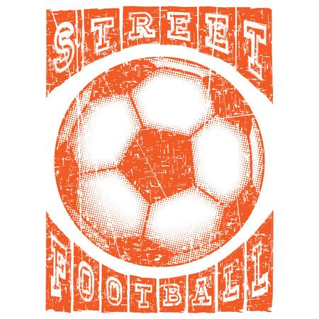 Abstract vector illustration orange shabby stamp football ball on white background. Inscription street football. Design for print on fabric or t-shirt.
