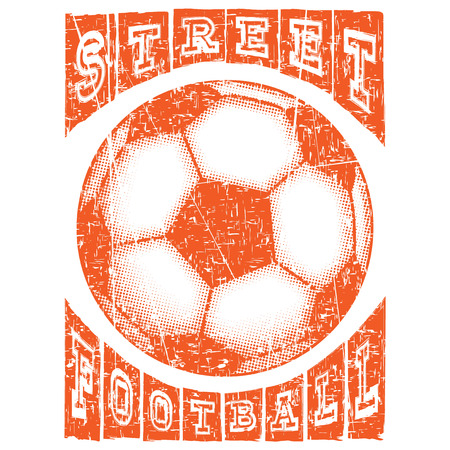 Abstract vector illustration orange shabby stamp football ball on white background. Inscription street football. Design for print on fabric or t-shirt.