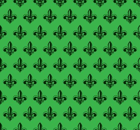 Vector illustration green seamless background with lily (fleur de lis) for print fabric or poster