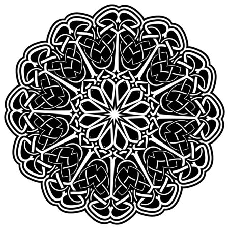Abstract vector black and white illustration round beautiful ornament. Decorative vintage ethnic mandala pattern. Design element for tattoo or logo. 矢量图像