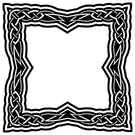 Abstract vector black and white illustration beautiful tracery frame. Decorative vintage tribal cross with patterns. Design element for tattoo. 矢量图像