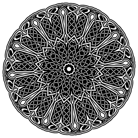 Abstract vector black and white illustration round beautiful ornament. Decorative vintage ethnic mandala pattern. Design element for tattoo .