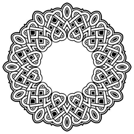 Abstract vector black and white illustration round beautiful tracery frame. Decorative vintage ethnic mandala pattern. Design element for tattoo.