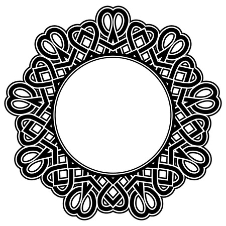 Abstract vector black and white illustration round beautiful tracery frame. Decorative vintage ethnic mandala pattern. Design element for tattoo . Stock Illustratie
