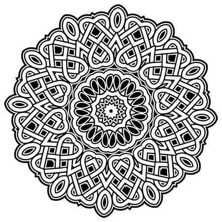 Abstract vector black and white illustration round beautiful ornament. Decorative vintage ethnic mandala pattern. Design element for tattoo.