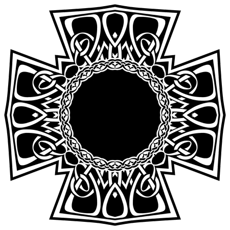 Abstract vector black and white illustration beautiful tracery frame. Decorative vintage tribal cross with patterns. Design element for tattoo . Stock Illustratie