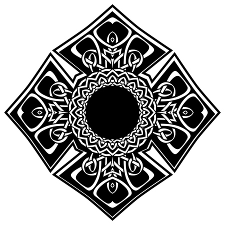 Abstract vector black and white illustration beautiful tracery frame. Decorative vintage tribal cross with patterns. Design element for tattoo . 矢量图像
