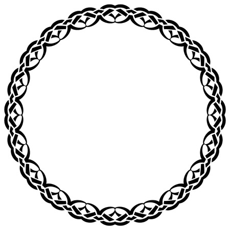 Abstract vector black and white illustration round beautiful tracery frame. Decorative vintage ethnic mandala pattern. Design element for tattoo . 矢量图像