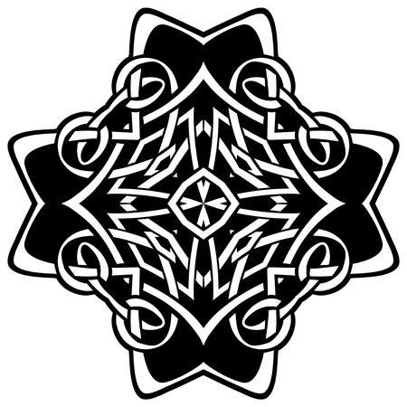 Abstract vector black and white illustration beautiful tracery frame. Decorative vintage tribal cross with patterns. Design element for tattoo. Illustration
