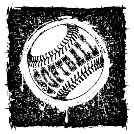 Abstract vector illustration black and white scratched baseball ball on grunge background. Inscription softball. Design for tattoo or print t-shirt.