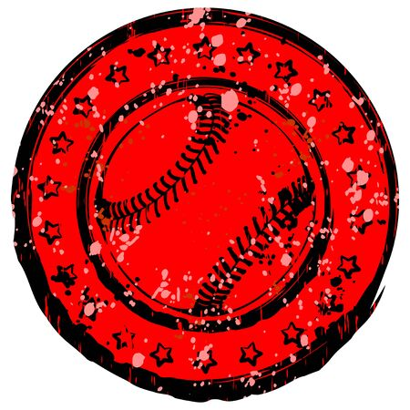 Abstract vector illustration black and red stamp with baseball ball. Stars in circle. Design for tattoo or print t-shirt.