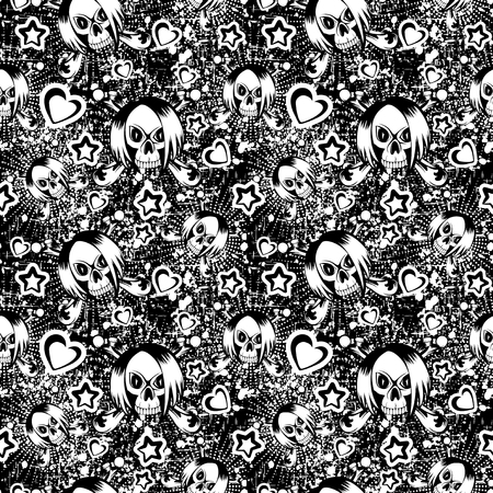 Vector illustration cartoon black and white emo girl skull with hair. Hearts and stars. Seamless background. For t-shirt design or print on textile.