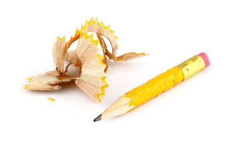 turned yellow tip of the pen on a white background Stock Photo