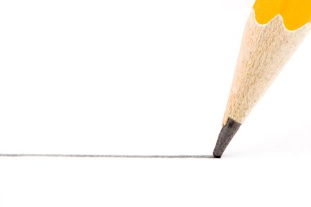 coloured pencil: a straight line drawn with the pen is yellow on a white background